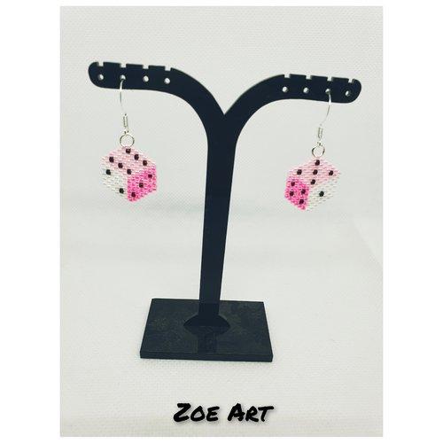 """Boucles d'oreilles """"maya"""" roses et blanches en perles de verre (z21054)"""