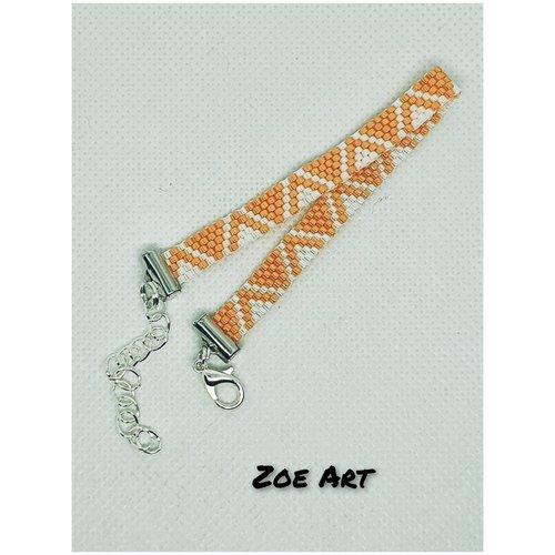 "Bracelet ""ela"" orange et blanc en perles de verre (z21051)"