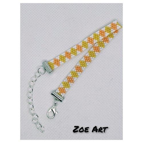 """Bracelet """"shana"""" orange, banane et blanc en perles de verre"""