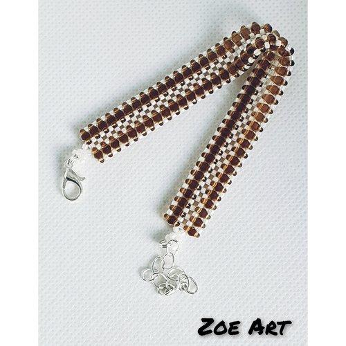 """Bracelet """"chelsea"""" topaze fumé et blanc en perles de verre"""