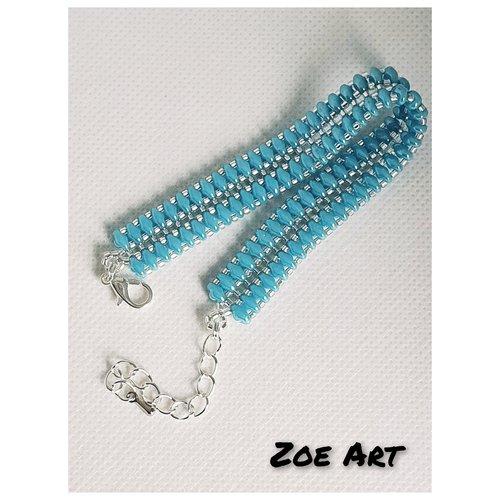 """Bracelet """"chelsea"""" bleu turquoise et argenté en perles de verre"""