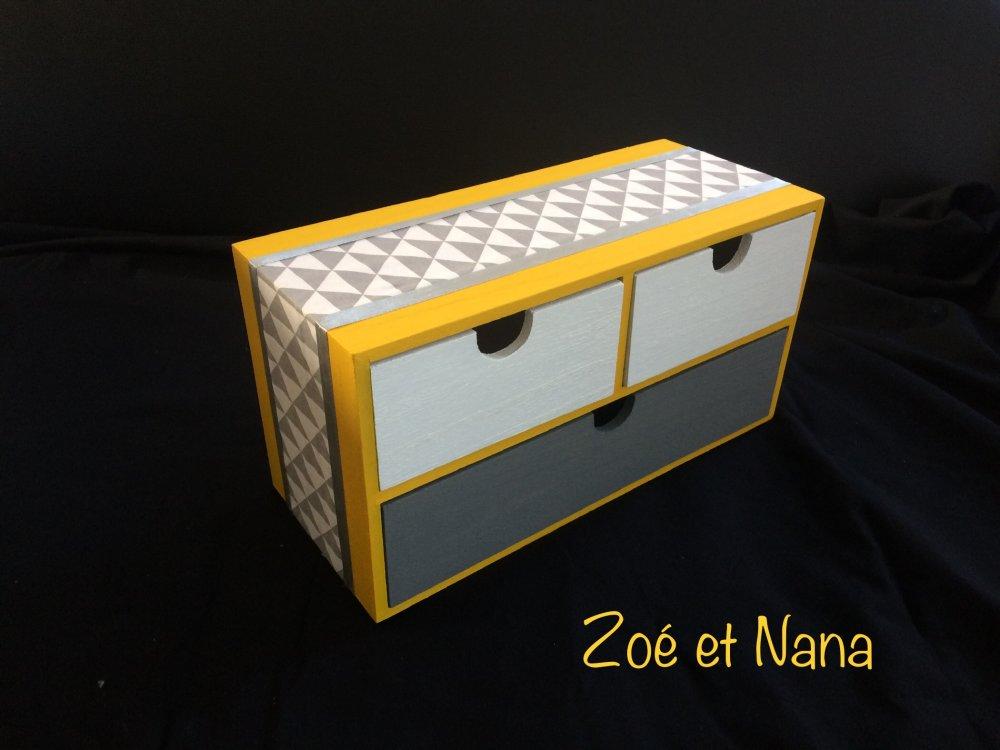 Boîte de rangements, tiroirs, scandinave, jaune, gris, blanc, géométrique, couture, maquillage, bijoux, bureau