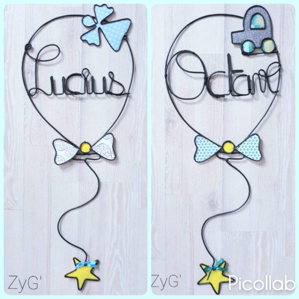 Prénom enfant, décoration pour chambre, forme de ballon.