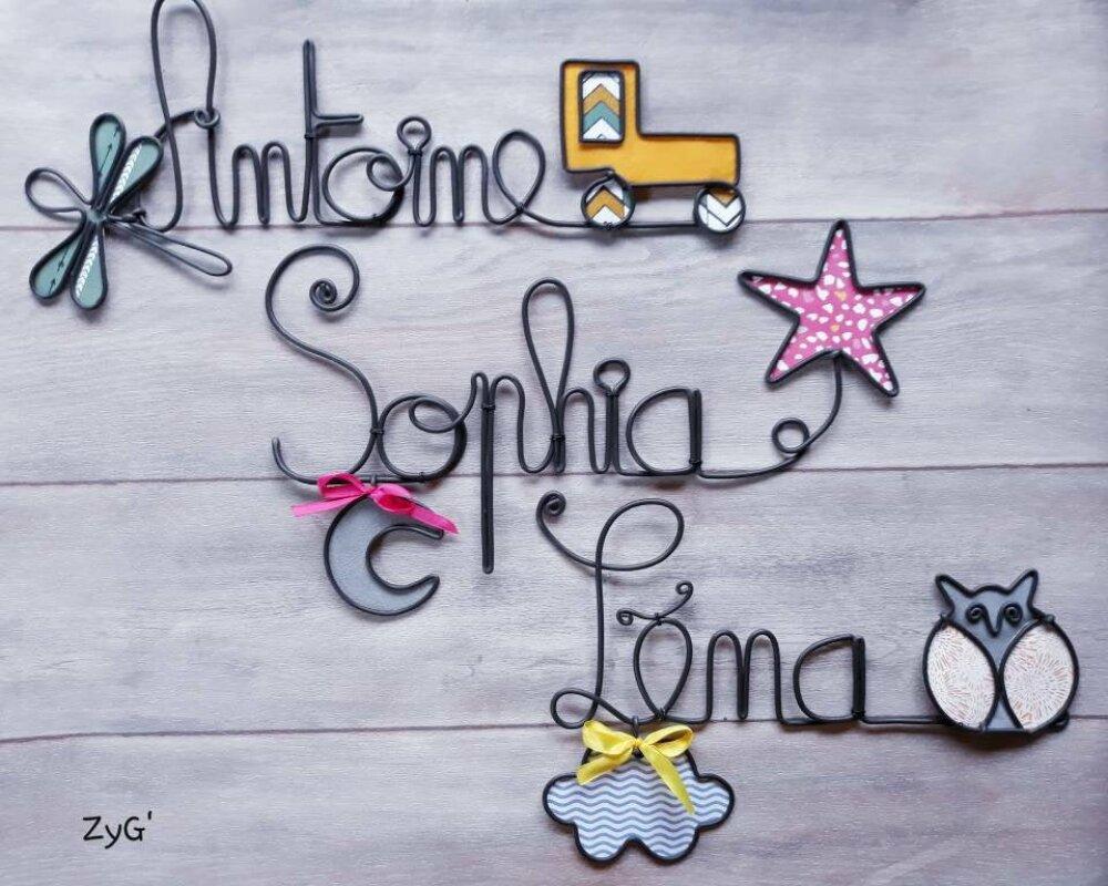Prénom en fil, plaque de porte ou déco murale personnalisée pour chambre d'enfants.