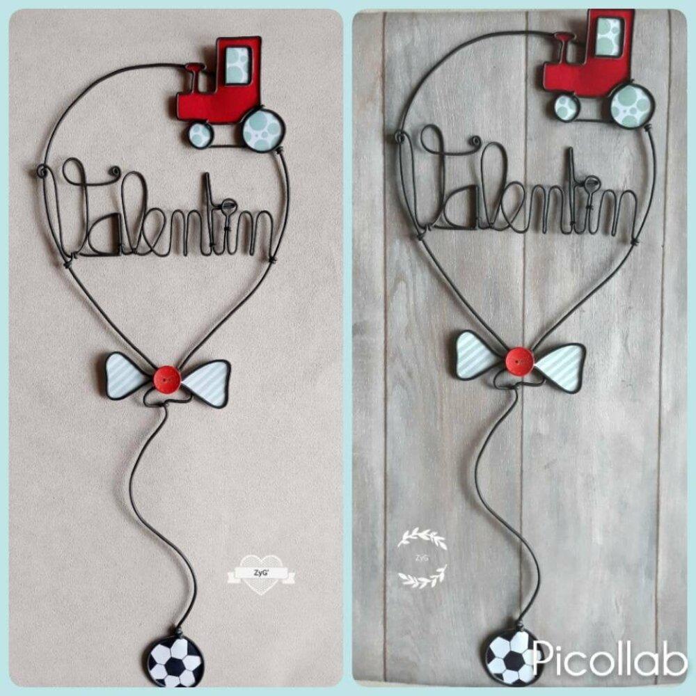 Décoration murale ou plaque de porte en forme de ballon, personnalisé avec prénom