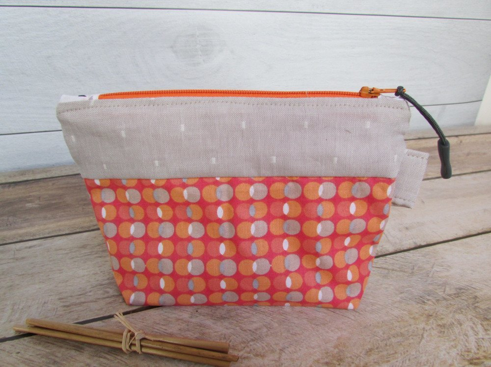 Pochette, trousse maquillage en tissus orange beige  - 17 x 11 x 4 cm - coton - 224