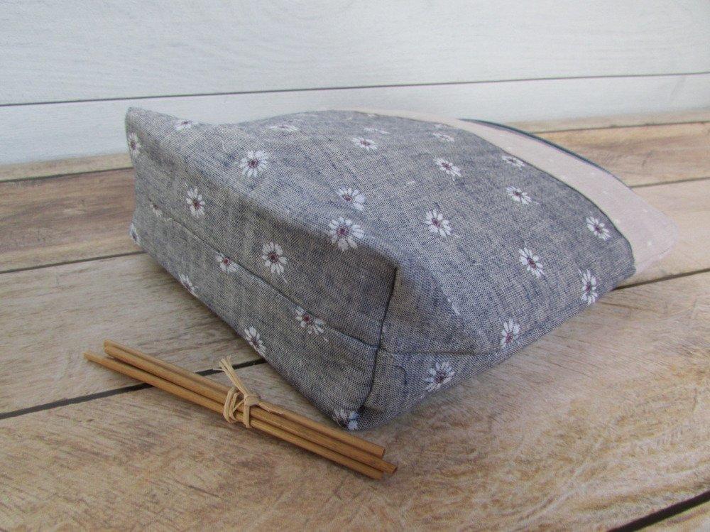 Pochette, trousse maquillage en tissus gris beige  - 20 x 18 x 6 cm - coton - 225