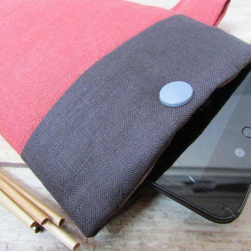 Pochette pour téléphone mobile, etui pour gsm, housse molletonnée en lin - 18 x 11 cm - 247