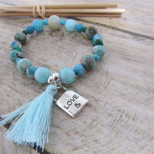 Bracelet en perle de pierre de gemmes bleues, bracelet élastique 16 cm, breloque, pompon, 272