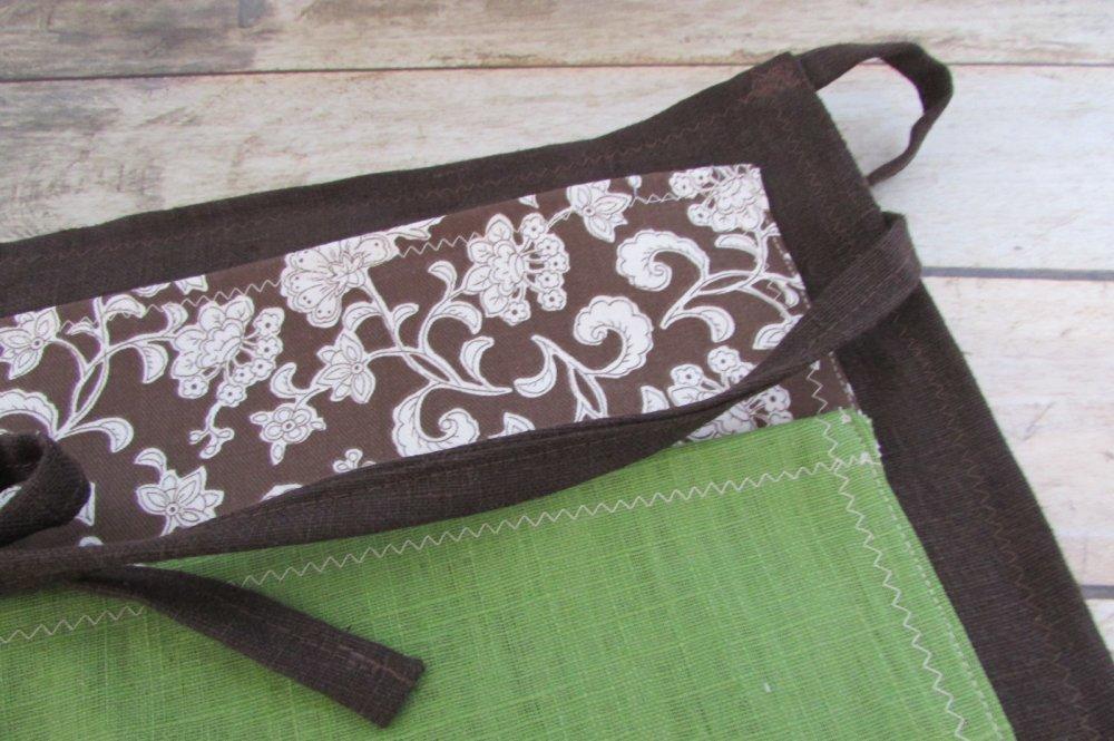 Tablier de jardinage, tablier de bricolage en lin coton 45 x 26 cm - pochette rangement - 448