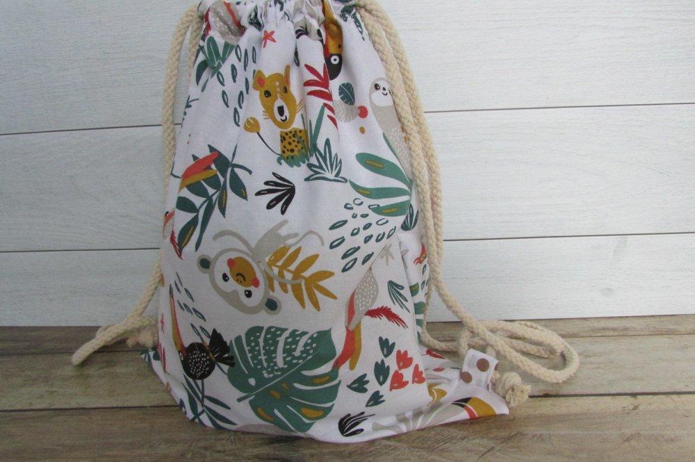 Sac à dos en tissus coton anumaux de la jungl , sac de gym, sac de sport enfant, sac d'école  - 40 x 30 cm - 457