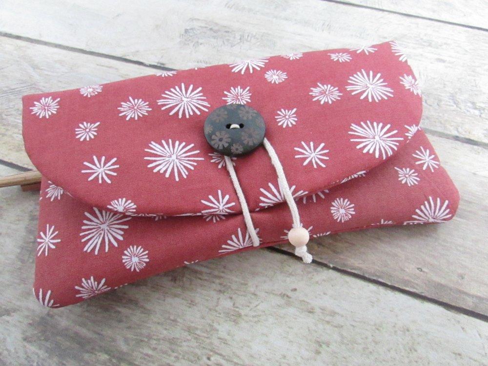 Porte monnaie, pochette mobile, double pochette zippée en tissus coton - 10 x 18 cm - 526