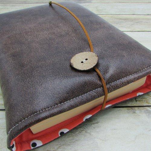 Housse protection livre format broché, étui livre en tissus simili cuir marron - 586