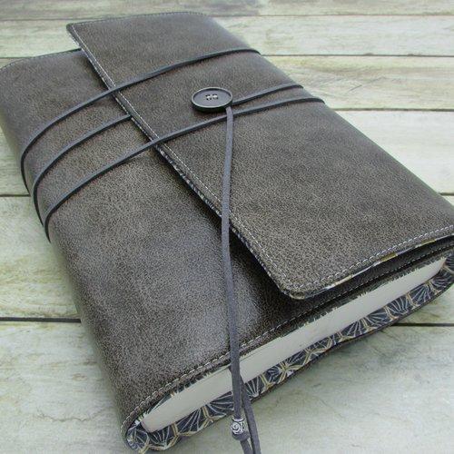 Protège livre, couverture format littéraire roman , couvre livre en tissu simili cuir skai gris - 502