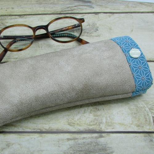 Etui à lunette, pochette molletonnée, housse en tissus simili cuir  20 x 8 cm  - 595