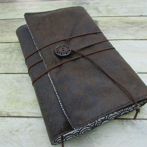 Protège livre, couverture format poche , couvre livre en tissus suédine brun foncé  - 375