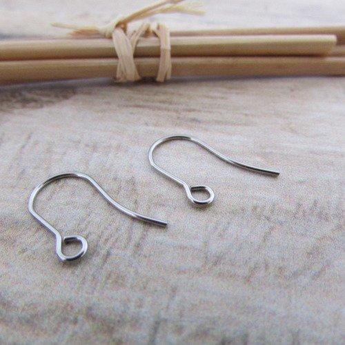 10 crochet hameçon en acier inoxydable 17 x 10 mm pour boucle d'oreille  - ref 65.5353
