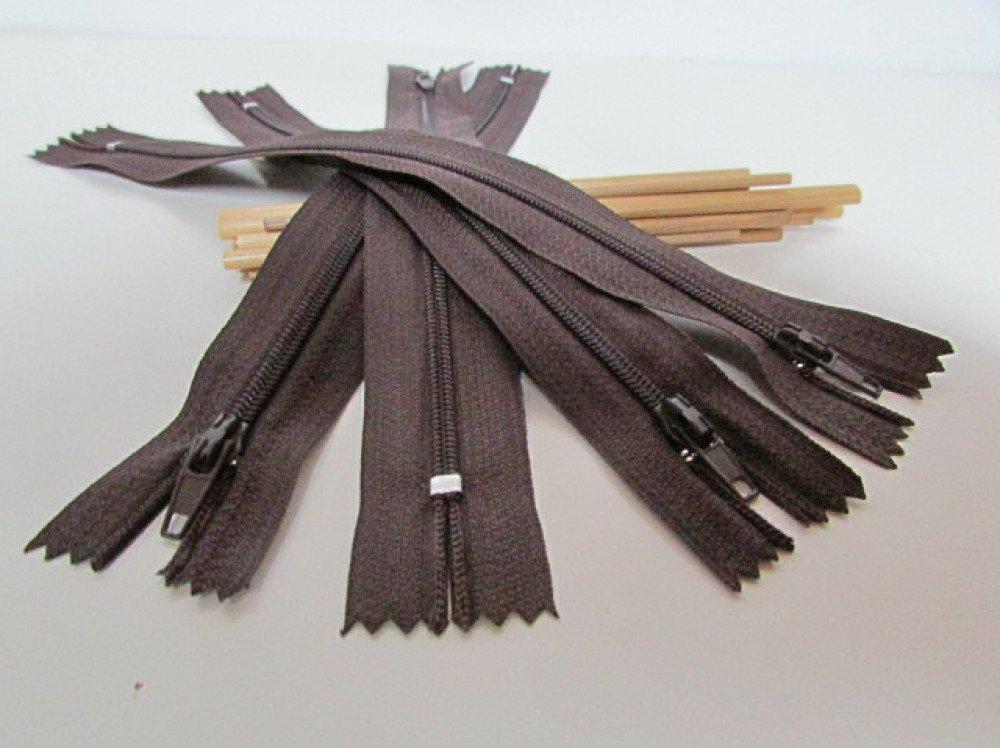 4 fermeture à glissière 20 cm - fermeture éclair non séparable - brun foncé  nylon - 3.59