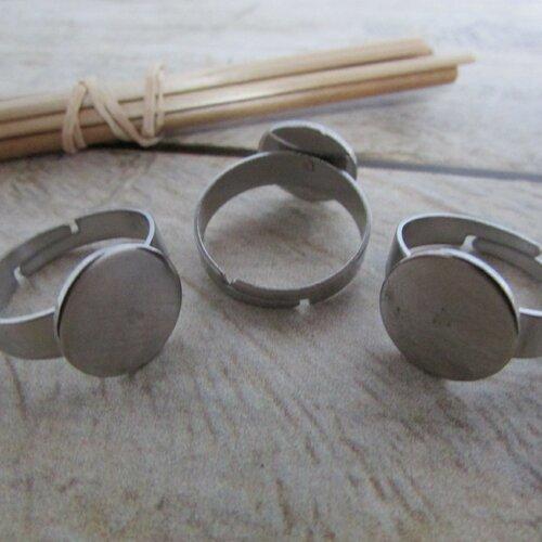 Lot de 10 Support de Bague Anneau Plateau Fleur Reglable 25mm En Metal Bronze SODIAL R