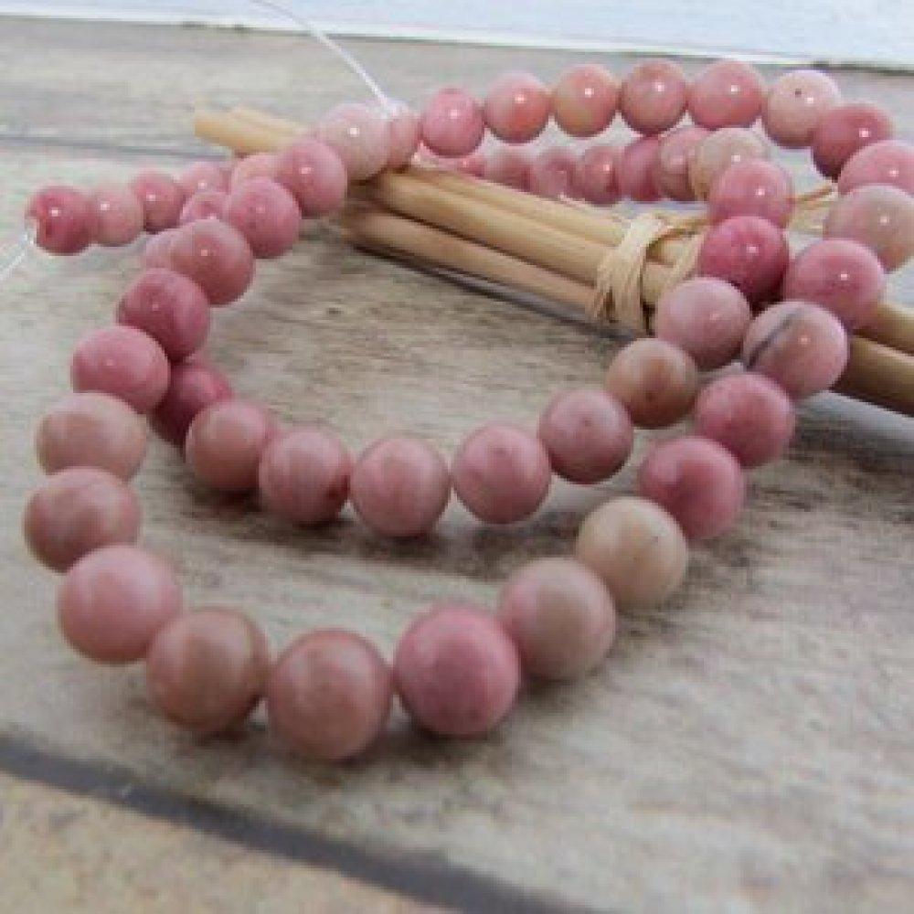 8 perles 10 mm en rhodonite - pierre de gemme - trou 1 mm - 465