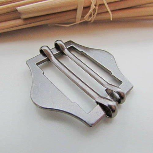 Boucle réglable à 2 coulisses pour sangle de 3cm - métal gris foncé  3.8 x 4.2 cm - 8.90