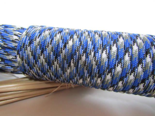2 m de paracorde 550  bleu blanc gris noir - 3.5 mm - cordon nylon - 63
