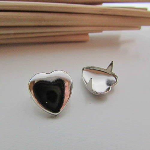 10 rivets de décoration coeur en métal argenté - 12 x 12 mm -  12.52
