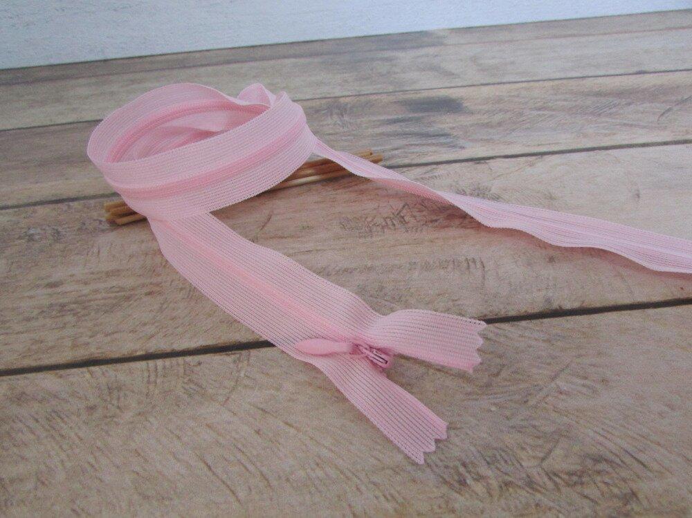 Fermeture à glissière 40 cm invisible - rose - fermeture éclair non séparable nylon - 3.64
