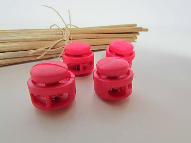 4 arrêt stoppeur double cordon rond en plastique - rose foncé fuchsia- pour cordon de 3 à 4mm de diamètre - 3.26