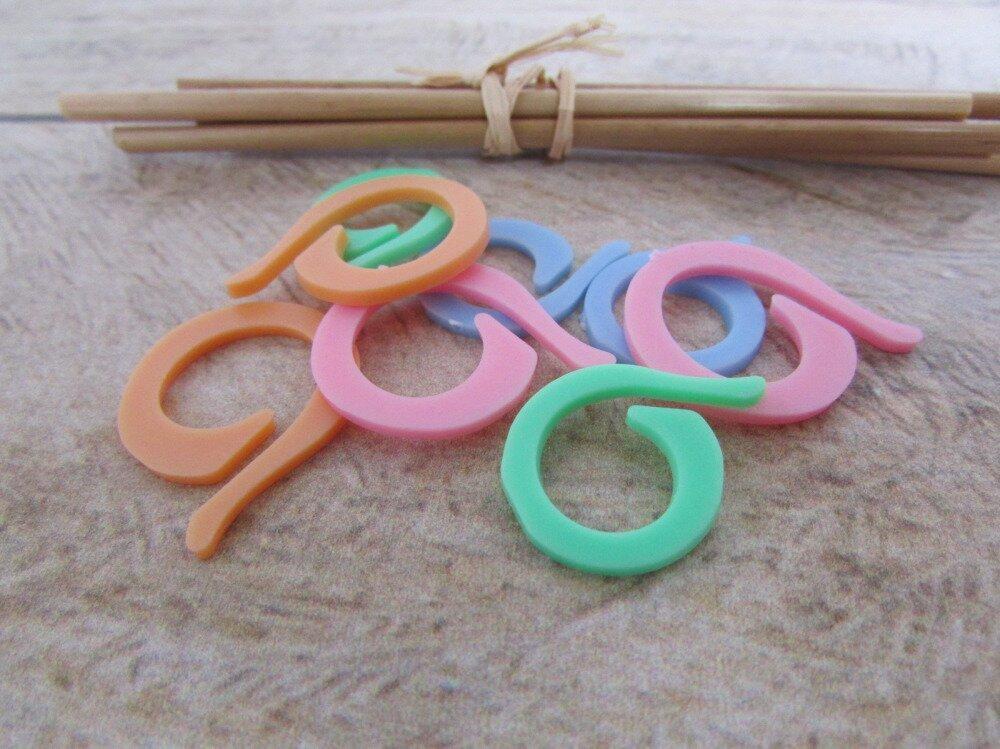 8 marqueur de maille pour le tricot ou le crochet en plastique de couleur - ref 1.10