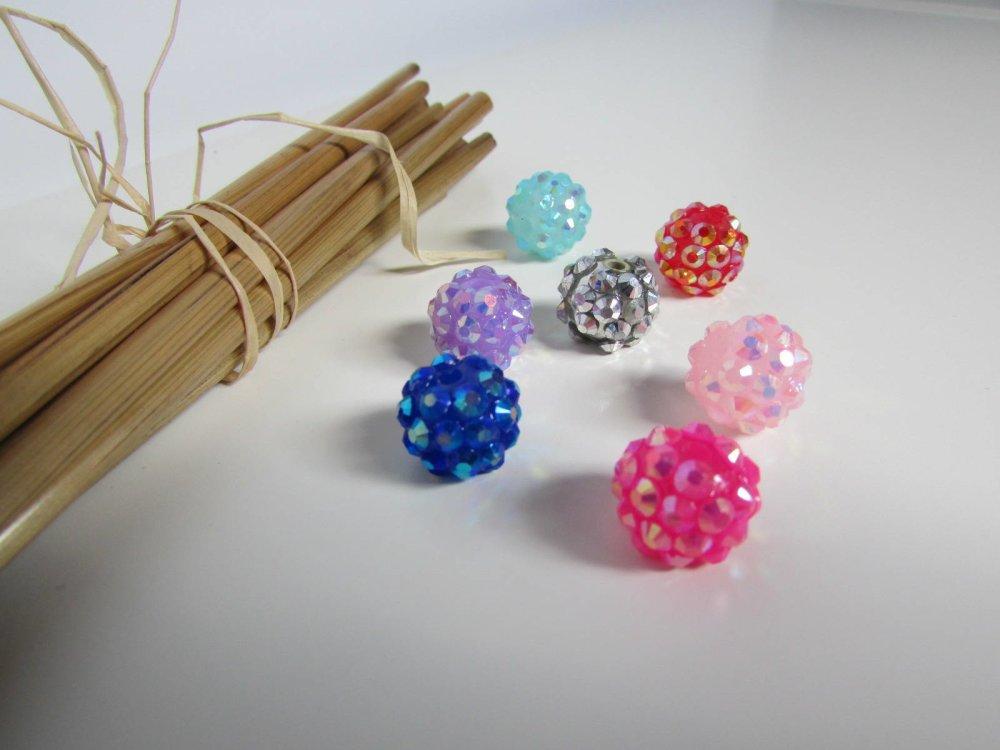 5 Plaqué Or Fleur Motif Grand Trou Acrylique perles 10 mm-Trou 2.4 mm