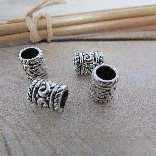 2 Grandes Perles Intercalaires Tube Tribal Passant 33mm x 14mm en métal argenté