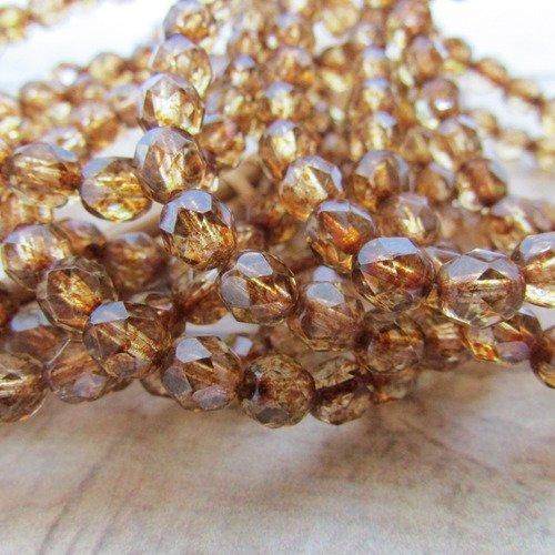 25 perle verre tchèque , verre facetté 6 x 5 mm, brun or - 607