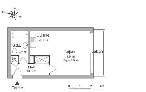 LILLE REPUBLIQUE 1 pièce 26,61 m²