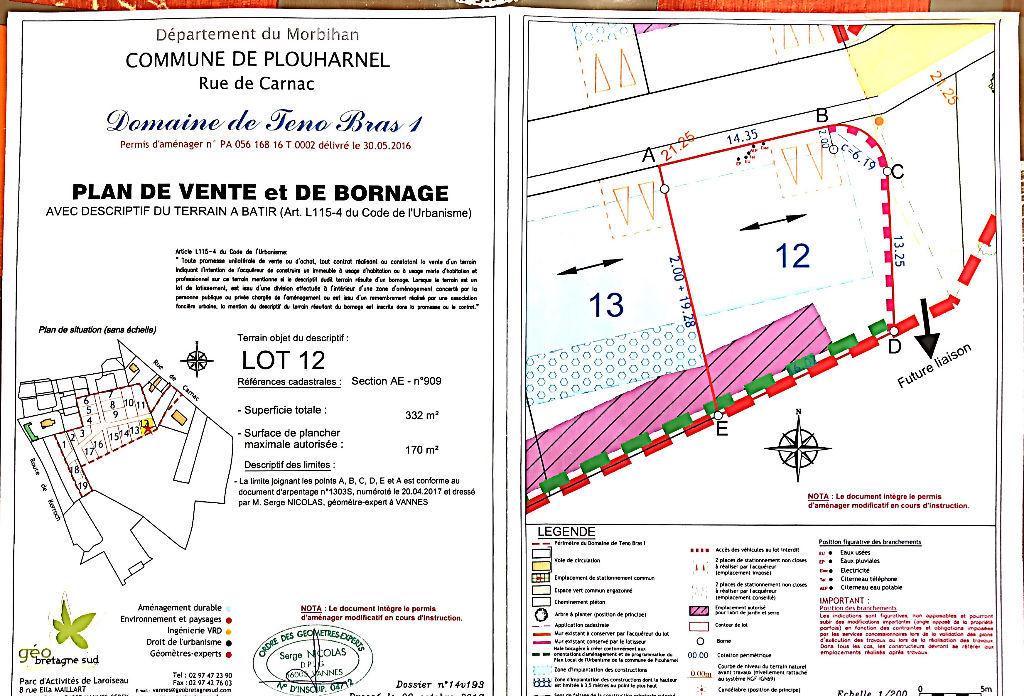 Terrain 332m² Plouharnel