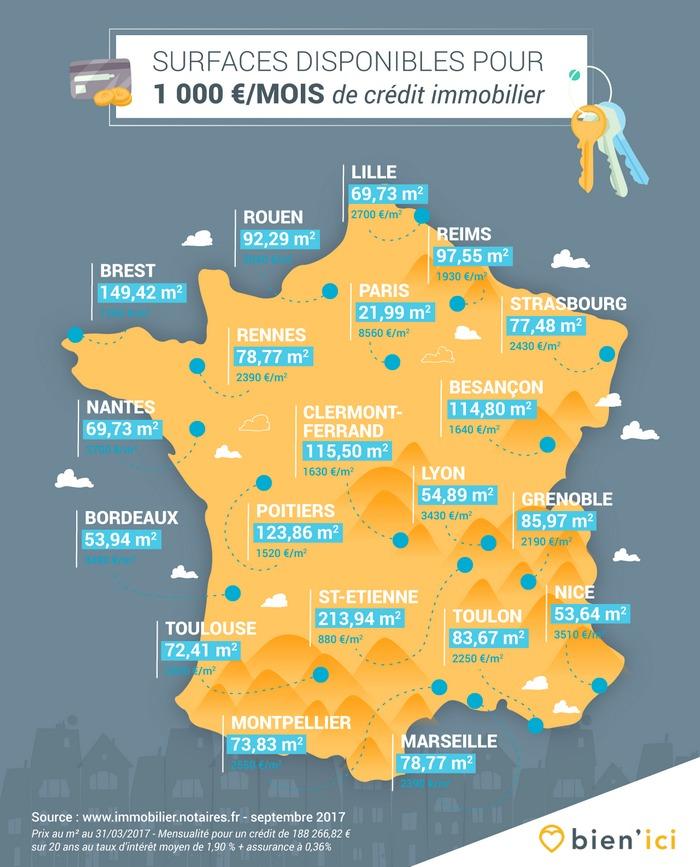 carte prix immobilier france Quelle surface acheter pour 1 000 euros de crédit ?