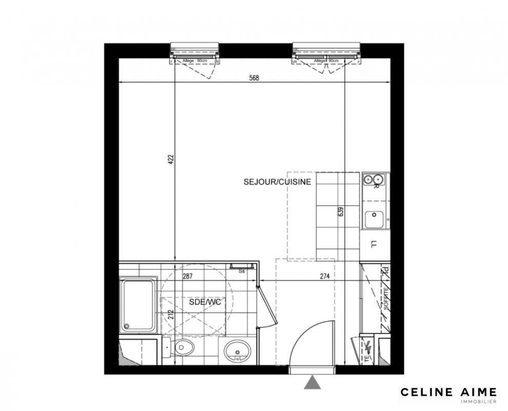 Appartement a vendre houilles - 1 pièce(s) - 35 m2 - Surfyn