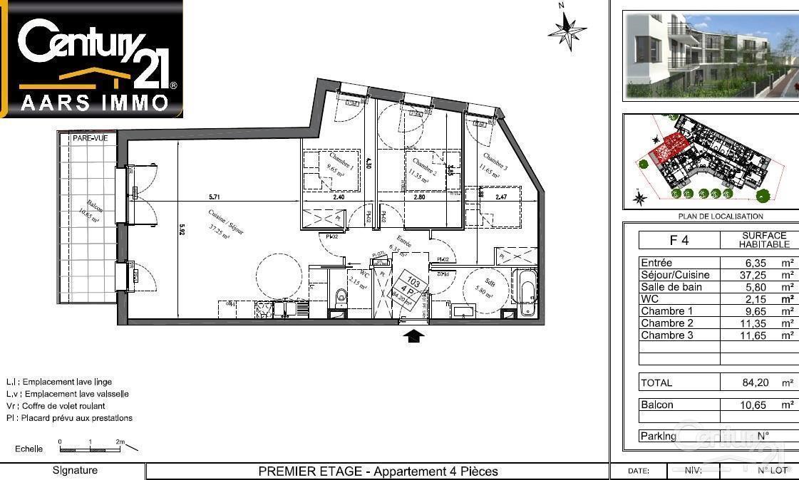 Appartement neuf 4pièces 84m² à Thiais