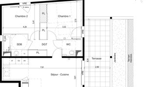 Appartement 3pièces 63m² Jacou