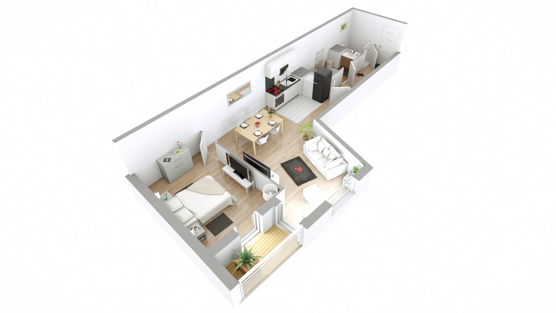achat appartement neuf 2 pi ces 49 m paris 415 000. Black Bedroom Furniture Sets. Home Design Ideas