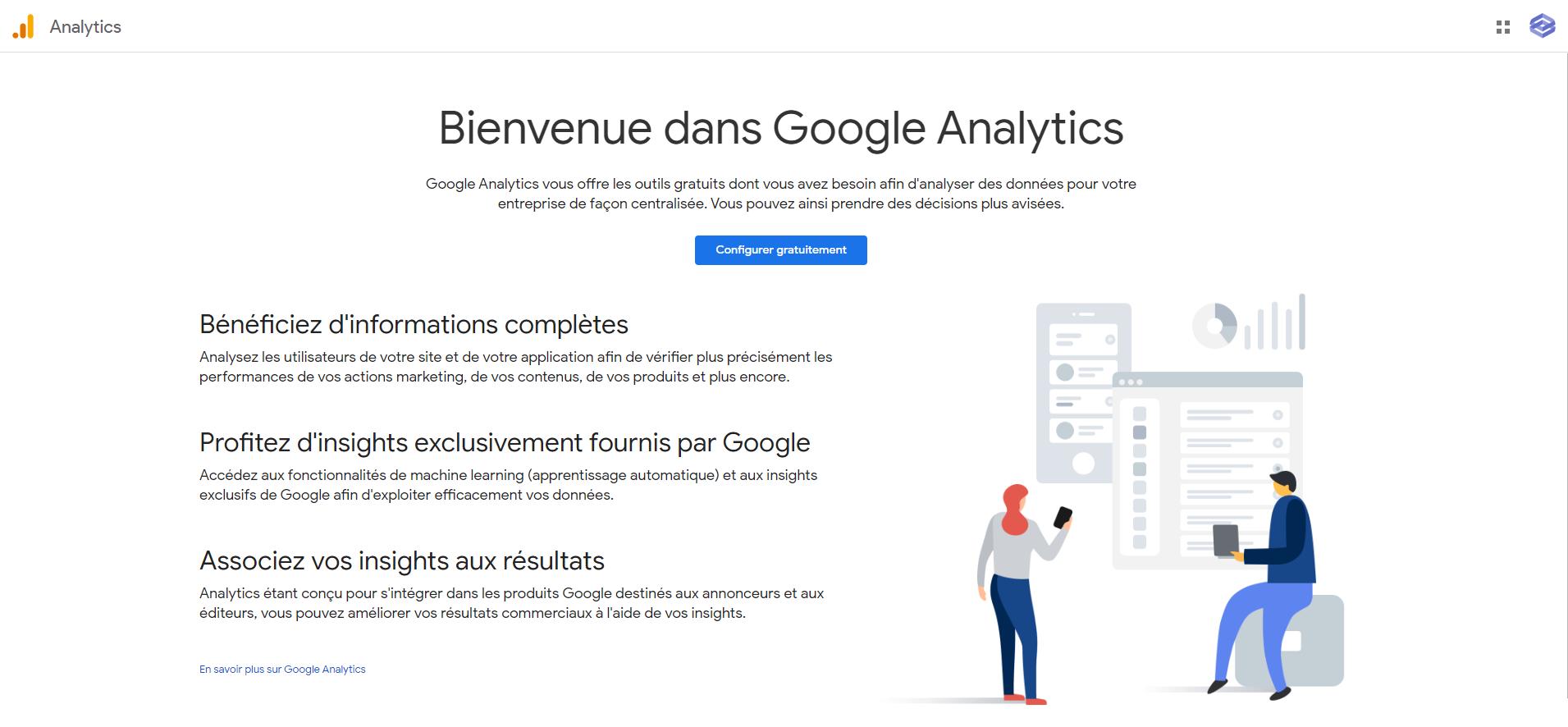 Page d'accueil de Google Analytics