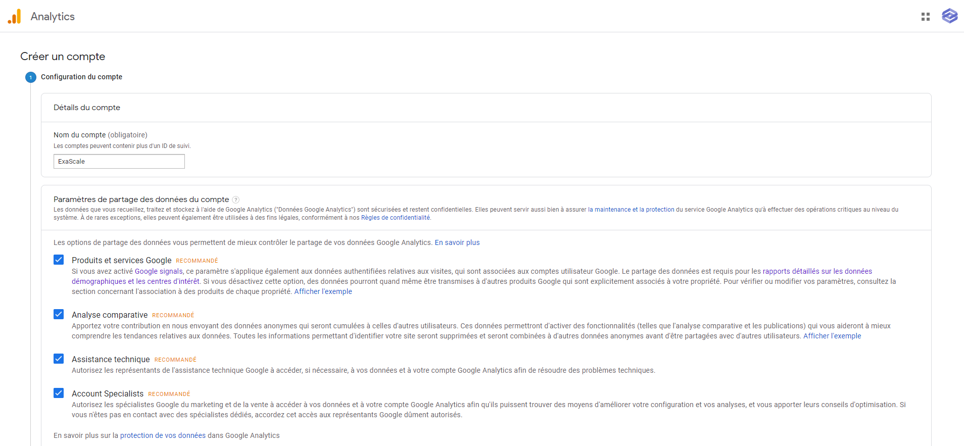 Configuration du compte Google Analytics