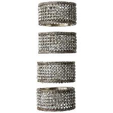Elegance Silver Servilleta Anillos con Cristales (Conjunto de 4)