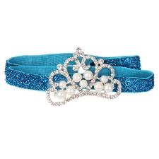 Bandeau de Cheveux Elastique Serre-tête Coeur Strass Cristal Perle Bébé Bleu