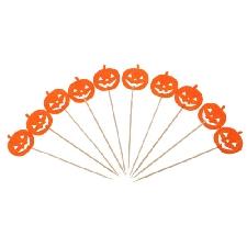10 / set halloween cake topper cupcake pick decor prop orange pumpkin