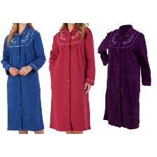 Slenderella Femmes Boutonné Robe de Chambre Boucle Polaire Brodé Robe de Chambre