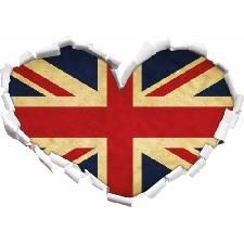 Royaume-Uni Drapeau - 3d Aspect Cœur Sticker Mural Autocollant-Sticker