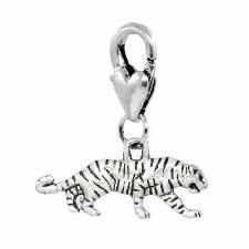 anneau DIY création bijoux B73 4 Pendentifs breloques TIGRE métal argenté 35mm