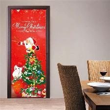 Noël Creative Stickers Porte Fenêtre En Verre Stickers Muraux Stickers Porte En Bois @Yeigen2384