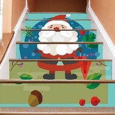 Décoration De Noël Autocollants De Noël D'escalier Escaliers Stickers Muraux @Sdongt3901